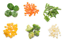 Frozen Vegetables (spinach, Broccoli, Carrot, Beans, Pumpkin, And Potatoes) Isolated Over White, Top View