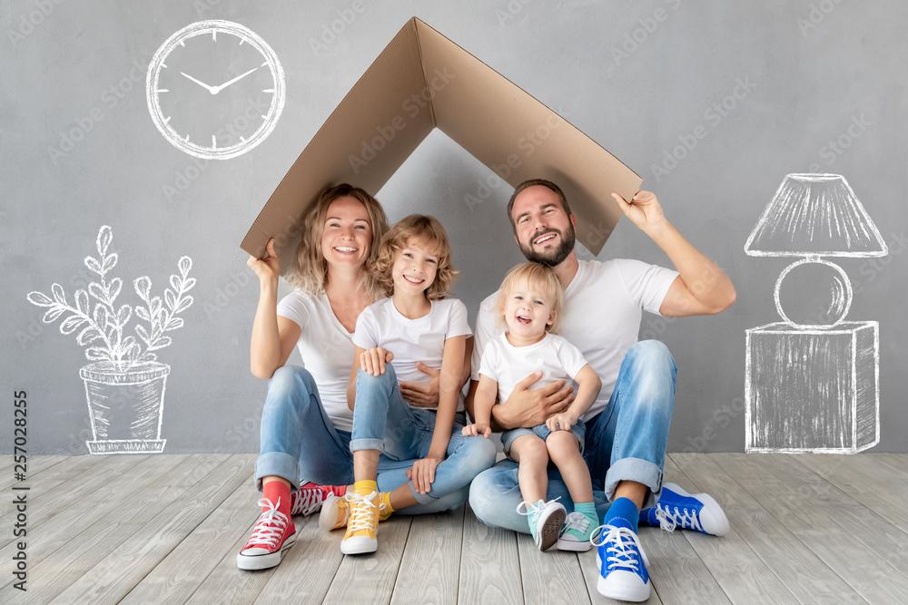 Fototapeta Family New Home Moving Day House Concept