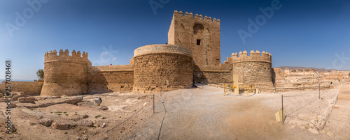 Almeria medieval castle panorama with blue sky from the air in Andalusia Spain former Arab stronghold
