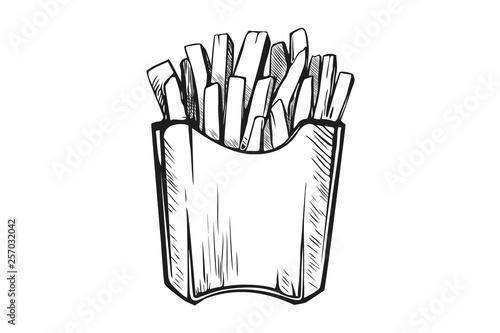 Fotografía Hand drawn french fries. Fast food, junk food icon.