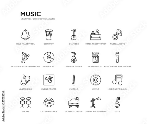 set of 20 line icons such as piccolo, event poster, guitar pick