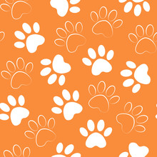 Paw Print Seamless. Vector Illustration Animal Paw Track Orange Pattern. Backdrop With Silhouettes Of Cat Or Dog Footprint.