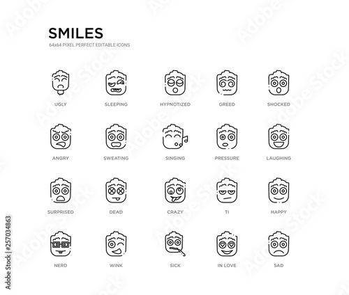 set of 20 line icons such as crazy, dead, surprised, pressure, singing, sweating, angry, greed, hypnotized, sleeping Fototapeta