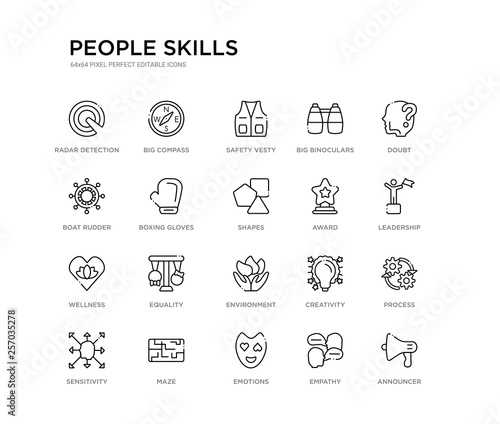 Photo  set of 20 line icons such as environment, equality, wellness, award, shapes, boxing gloves, boat rudder, big binoculars, safety vesty, big compass