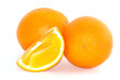 Orange on white background, juicy fruit slice close up