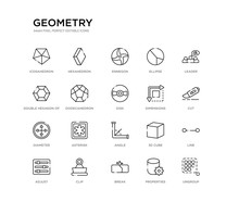 Set Of 20 Line Icons Such As Angle, Asterisk, Diameter, Dimensions, Disk, Dodecahedron, Double Hexagon Of Small Triangles, Ellipse, Ennegon, Hexahedron. Geometry Outline Thin Icons Collection.