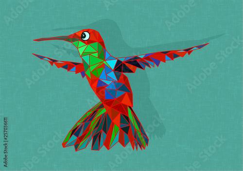 Poster Geometric animals hummingbird
