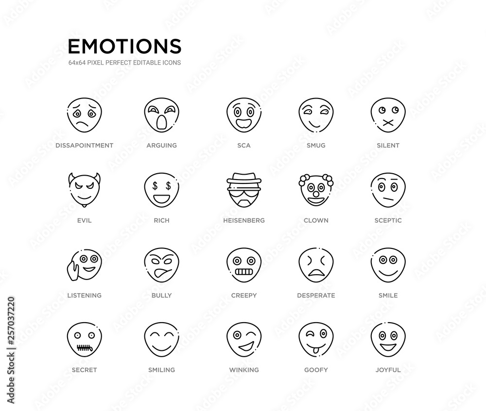 Photo  set of 20 line icons such as creepy, bully, listening, clown, heisenberg, rich, evil, smug, sca, arguing