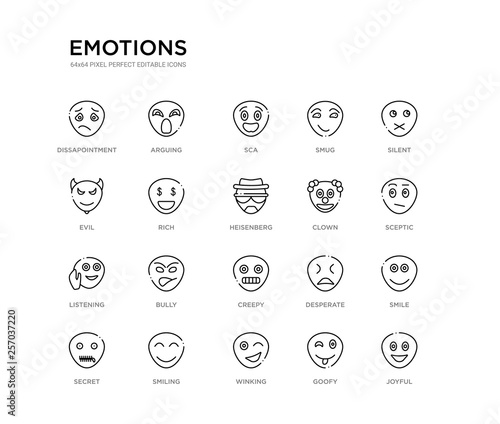 Photo  set of 20 line icons such as creepy, bully, listening, clown, heisenberg, rich, evil, smug, sca, arguing
