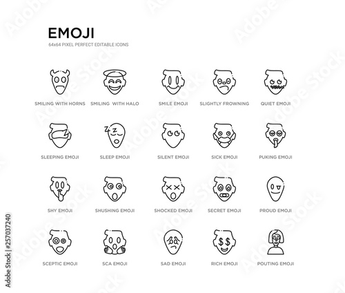 Photo  set of 20 line icons such as shocked emoji, shushing emoji, shy emoji, sick silent sleep sleeping slightly frowning smile smiling  with halo outline thin icons collection