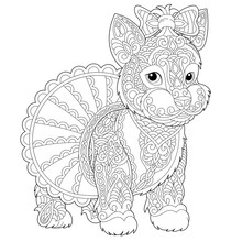 Zentangle Yorkshire Terrier Dog Coloring Page