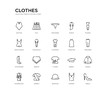set of 20 line icons such as t shirt, briefs, stockings, tanktop, pyjamas, tracksuit, nightwear, kurta, knickers, kilt. clothes outline thin icons collection. editable 64x64 stroke