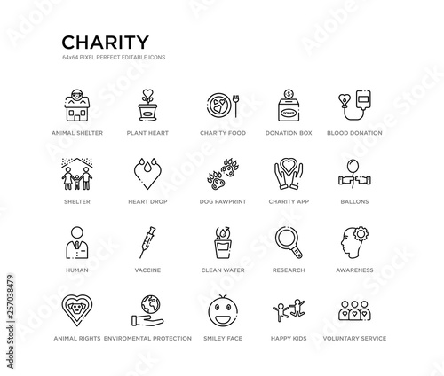 Photo  set of 20 line icons such as clean water, vaccine, human, charity app, dog pawprint, heart drop, shelter, donation box, charity food, plant heart