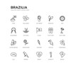 set of 20 line icons such as feather, sunflower, coffee beans, flip flops, flags, eye mask, headdress, maracas, ice cream, balloons. brazilia outline thin icons collection. editable 64x64 stroke