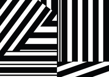 Seamless Pattern With Black White Striped Lines.
