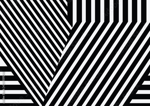 Spoed Foto op Canvas Psychedelic Seamless pattern with black white striped lines.