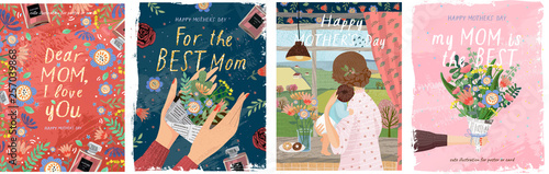 Happy mother's day! Vector illustrations for a cute cover, poster, banner or car Fototapete