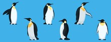 Flat Penguins On A Blue Background Collection