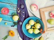 Fresh fruits, leaves and flowers on a wooden table, top view, summer, concept of harvest, healthy food, homemade, abundance