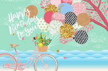 Happy Birthday! Cute Vector Card, Poster Or Cover For Holiday Greetings! Illustration Of A Vintage Bicycle With Balloons