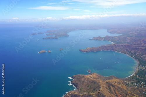 Aerial view of the Golfo del Papagayo with the Peninsula Papagayo near Liberia, Canvas Print
