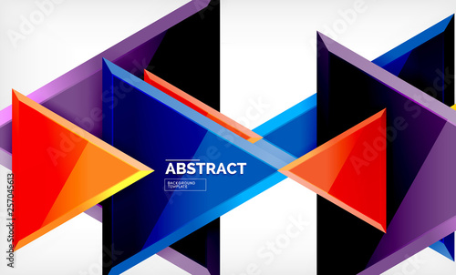 Tablou Canvas Triangles repetiton geometric abstract background, multicolored glossy triangula