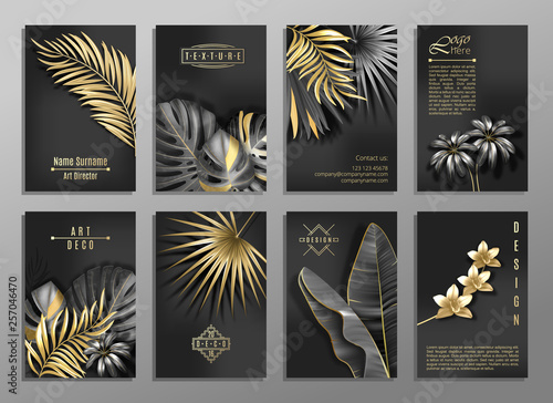 Fototapeta Vector Vertical Invitation 8 Cards Set With Black And Gold Tropical Leaves On Dark Background Luxury Exotic Botanical Design