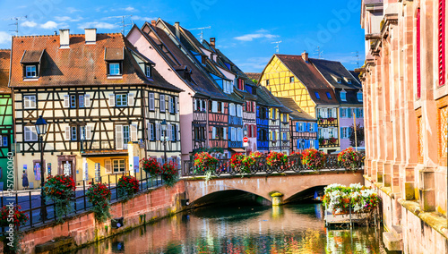 Colorful traditional town Colmar - tourist attraction in Alsace region, France