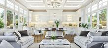Luxurious White Kitchen And Li...