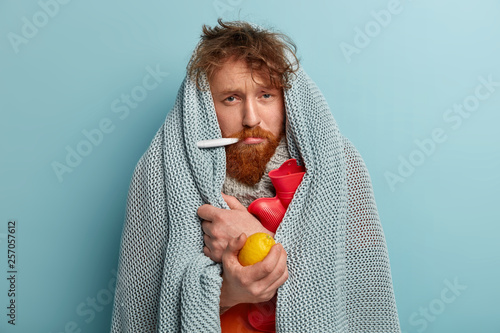 Fotografia, Obraz  Redhead young man with bristle fights against flu and fever, holds lemon to enrich vitamins, has thermometer in mouth, trembles under blanket, isolated over blue background