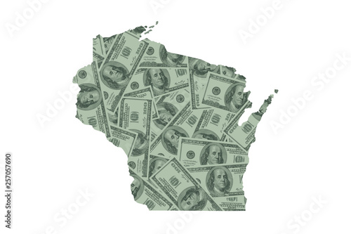 Photo  Wisconsin State Map and Money Concept, Hundred Dollar Bills