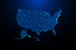 USA map illustration on dark blue color