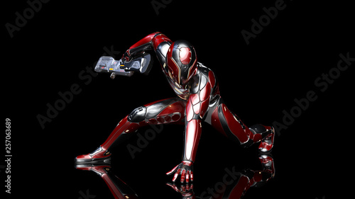 Fotografía Futuristic android soldier in bulletproof armor, military cyborg armed with sci-