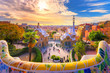 canvas print picture - View of the city from Park Guell in Barcelona, Spain