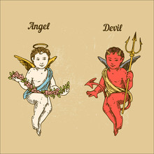 Angel And Devil. Color. Engraving Style. Vector Illustration.