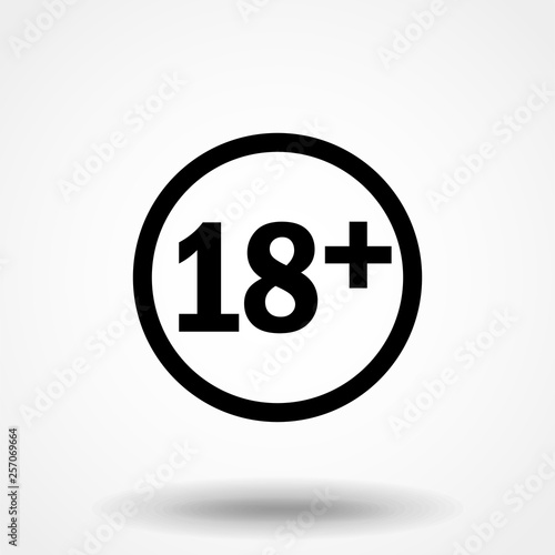 Photo Plus 18 years movie icon simple silhouette flat style vector illustration on transparent background