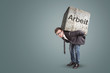 canvas print picture - Konzept eines Mannes unter schwerer Belastung durch Arbeit