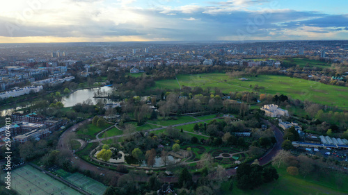 Foto op Aluminium Aerial drone bird's eye view photo of famous Regent's Royal Park unique nature and Symetry of Queen Mary's Rose Gardens as seen from above, London, United Kingdom