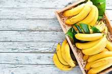 Fresh Bananas In A Wooden Box....
