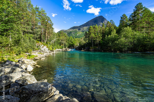 Printed kitchen splashbacks River Clear waters of the Valldola River in the beautiful nature of Valldalen Valley, Sunnmore, More og Romsdal, Norway