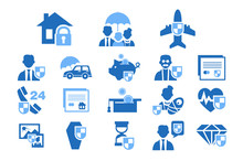 Diverse Insurance Blue Icons Set, Insurance Of Life, Health, Property, Finance Vector Illustrations On A White Background