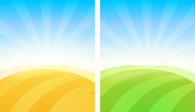Colorful Simple Vector Background Of Fields In Golden And Green Color.