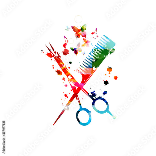 Hairdressing tools background. Colorful comb and scissors vector illustration...