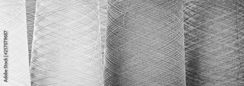 Obraz Black and white reels of threads. web banner background - fototapety do salonu
