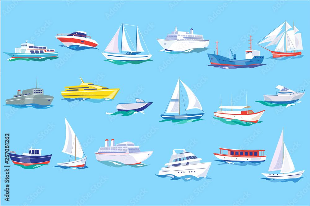 Fototapeta Sea ship, boat and yacht set, ocean or marine transport concept vector Illustration in flat style,