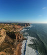 Aerial view from a rock coastline with waves. Portugal. Drone photo