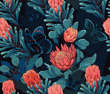 Tropical Bohemian Paradise In The Night, Seamless Pattern, Protea Flowers And Butterflies_vector Illustration