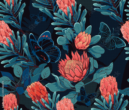 Tropical bohemian paradise in the night, seamless pattern, protea flowers and bu Canvas-taulu