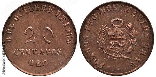 Fotografia  Peru Peruvian token 20 twenty centavos 1935, issued by foundation of erection mo