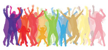 Dancing People (crowd) Silhouette Colored Transparent. Vector Illustration